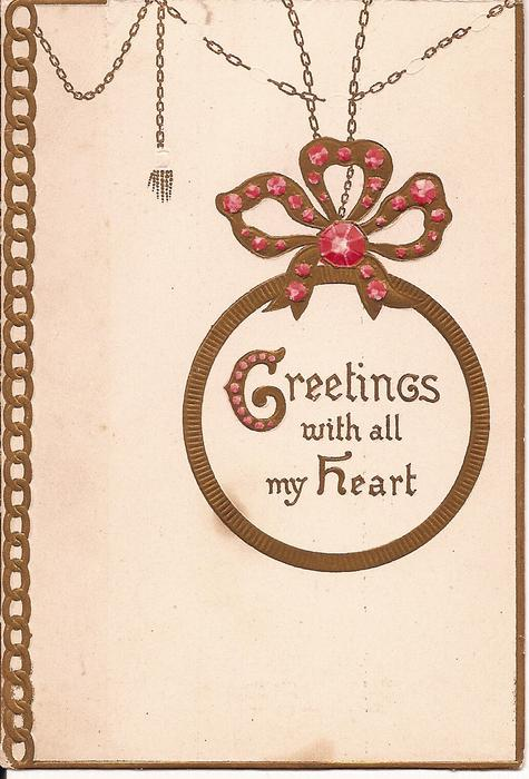 GREETINGS forget-me-nots in inset of heart, surrounded by gilt and gems