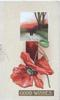 GOOD WISHES in white on brown plaque under red poppy & rural inset, yellow background