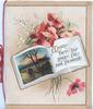 MEMORY TURNS HER PAGES FAIR AND PLEASANT on page of book, rural inset on other page, red poppies around,yellow background