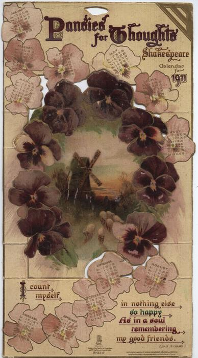 PANSIES FOR THOUGHTS SHAKESPEARE CALENDAR FOR 1911