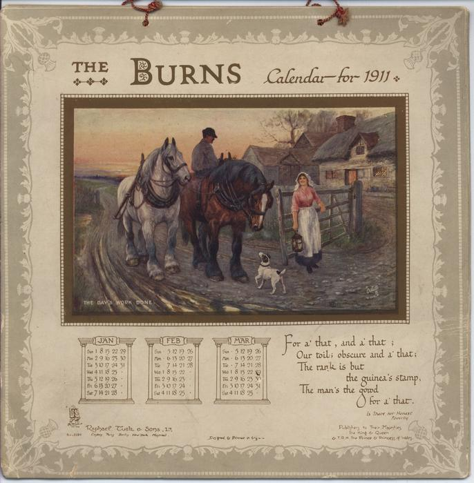 THE BURNS CALENDAR FOR 1911