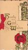 HEARTY GOOD WISHES stylised ivy design, red official seal