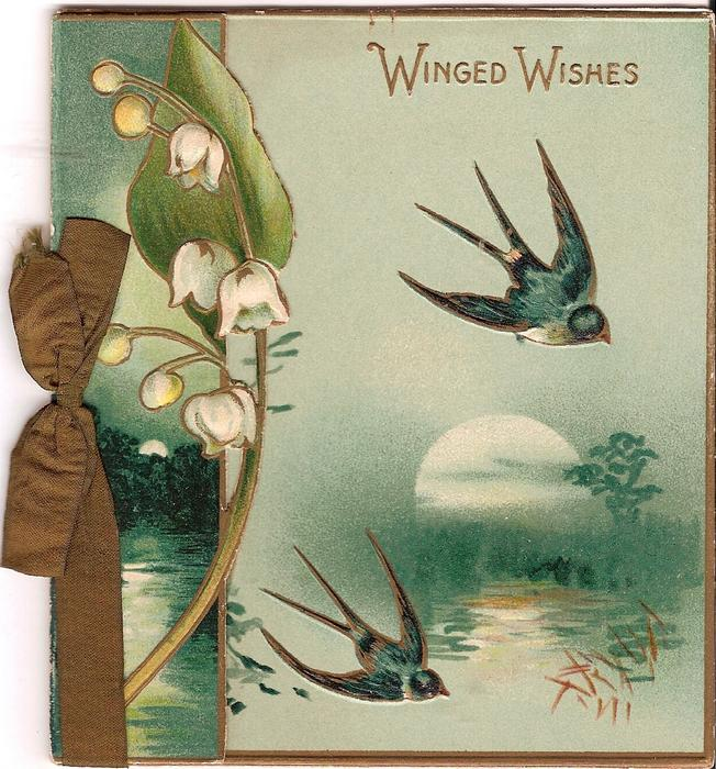 WINGED WISHES two bluebirds fly over moon-lit lake, exaggerated lily of the valley to the left