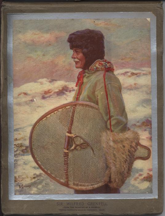 SIR WILFRED GREENFELL holding round snow shoe