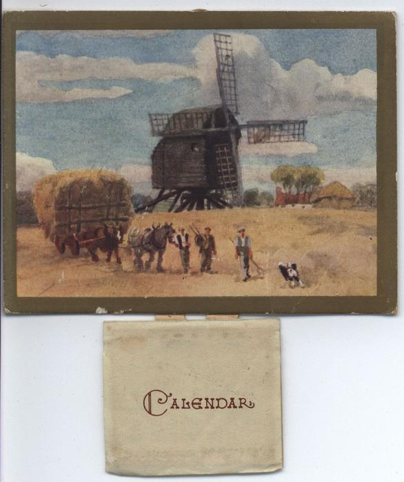 men leaving hay field with hay cart, windmill in distance