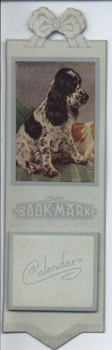 BOOKMARK CALENDAR black and white Spaniel type dog