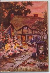 cottage with garden path and wishing well