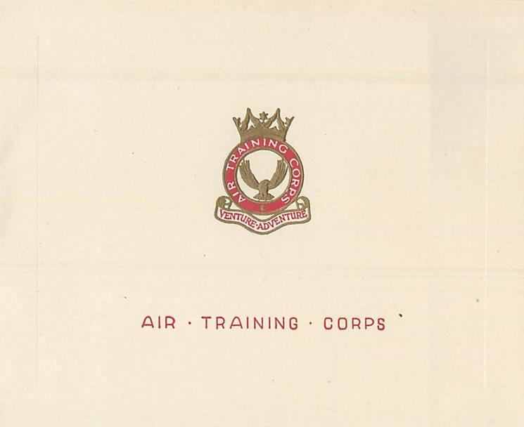 AIR TRAINING CORPS in red below gilt embossed & red crest & motto