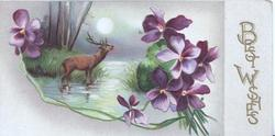 BEST WISHES  in gilt vertically right, stag stands in lake, evening scene bunches of violets around