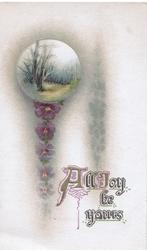 ALL JOY BE YOURS below small rural inset & pansy chain