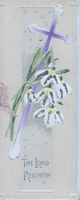 THE LORD REIGNETH in silver below violet cross and glittered snowdrops