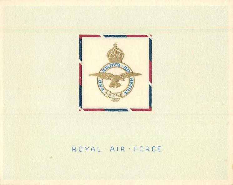 ROYAL AIR FORCE (front) -- R.A.F. STATION, UETERSEN, B.A.O.R. (inside)