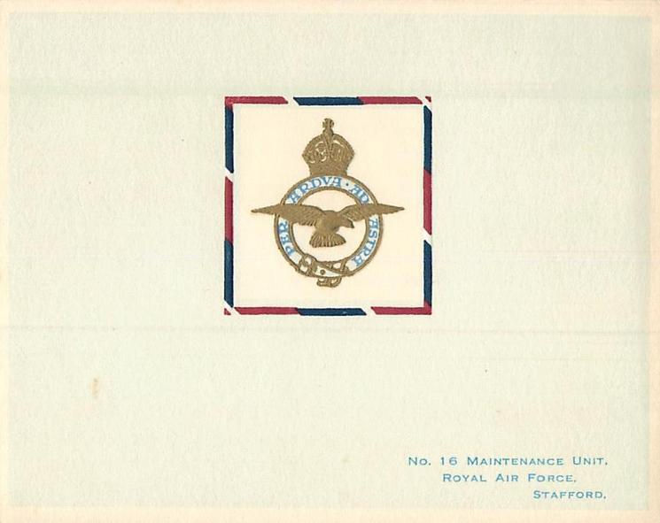 NO. 16 MAINTENANCE UNIT, ROYAL AIR FORCE, STAFFORD (front)