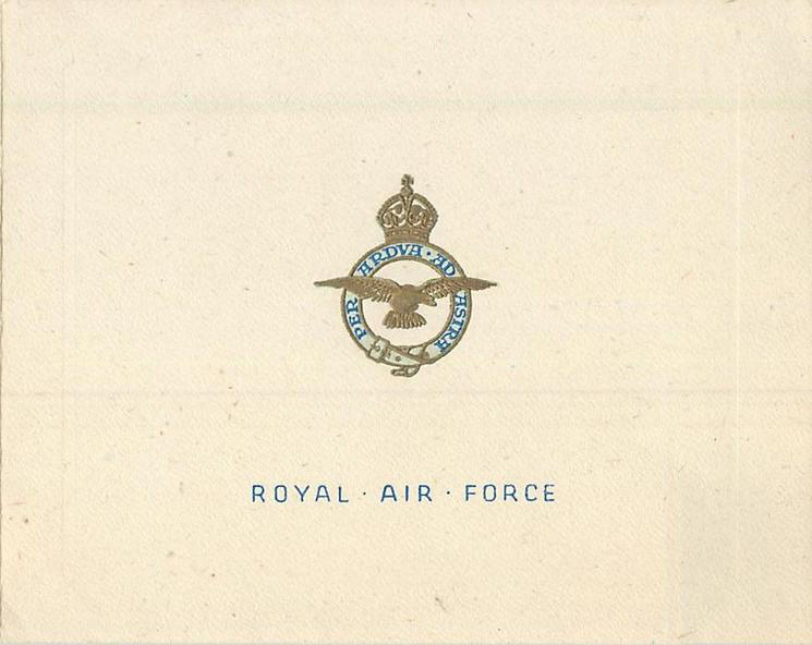 ROYAL AIR FORCE (front) -- 35 WING (inside) gilt & blue motto & crest