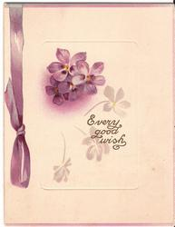 EVERY GOOD WISH purple ribbon printed to the left of violets