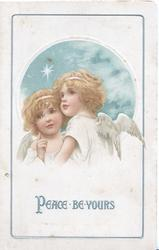 PEACE BE YOURS in silver. 2 red-headed angels cuddle below star as they look up & left