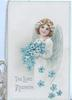 THE LORD REIGNETH in silver below angel carrying blue forget-me-nots