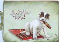 A JOLLY TIME(made with matches) above dog sitting on cigar-case smoking a cigar, green background