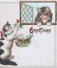 GREETINGS in gilt below kitten in window, another below offers holly from basket