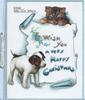I WISH YOU A VERY HAPPY CHRISTMAS on plaque below KITTIE'S LITTLE LOVE AFFAIR kitten looks down at puppy