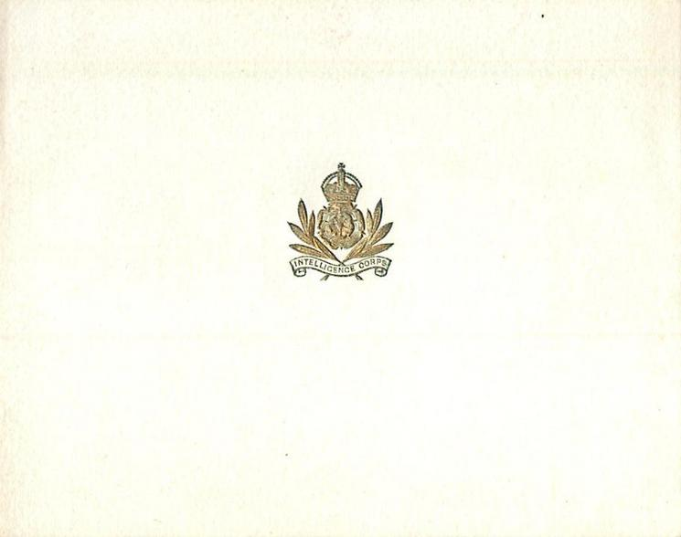 INTELLIGENCE CORPS small gilt crest centre