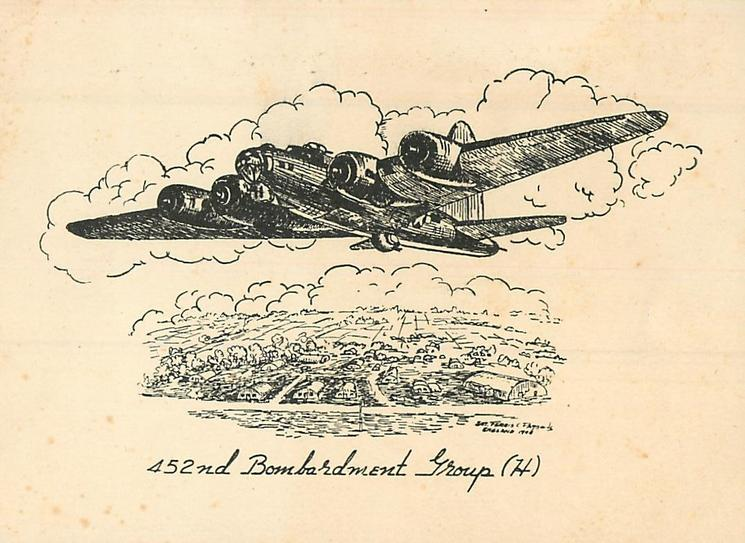 452ND BOMBARDMENT GROUP (H) bombardment airplane flies left