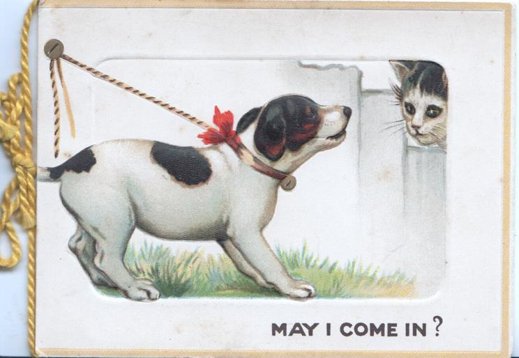 MAY I COME IN? below tied puppy, asking kitten, narrow yellow margins