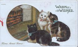 WARM WISHES in blue above 3 kittens in front of fire, HOME, SWEET HOME! BELOW