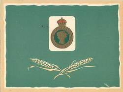 WOMEN'S LAND ARMY crest centre on white green with wheat stalks below, green background