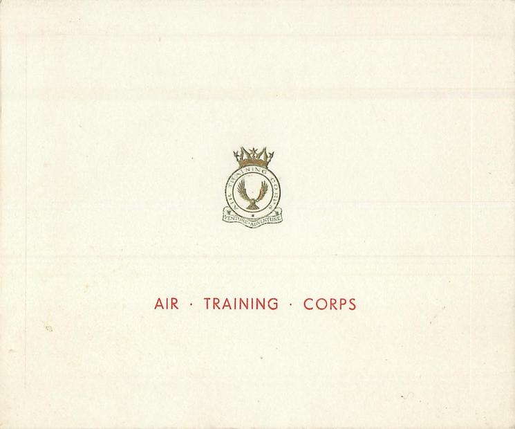 AIR TRAINING CORPS in red below gilt embossed crest & motto