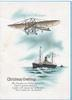 CHRISTMAS GREETINGS verse, primitive airplane flies over steamship
