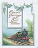 EXPRESS GREETINGS AND GOOD WISHES on plaque under forget-me-nots & over Express train