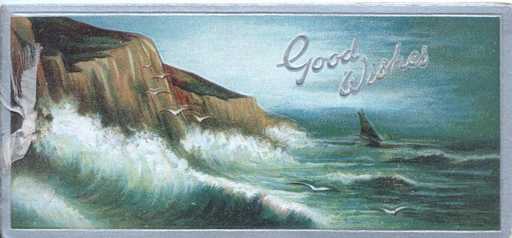 GOOD WISHES in silver on seascape, cliffs left, silver margins