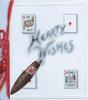 HEARTY WISHES in blue smoke from a cigar on plaque showing playing cards (2 aces, 2 kings)