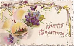 HEARTY GREETINGS violets and country inset to the right