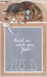 CATCH AS CATCH CAN, YAH  kitten looks down at drawing of 3 mice on slate