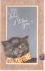 I LIKES YOU! cat looks up at drawing of 2 mice on slate