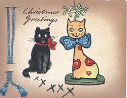 CHRISTMAS GREETINGS above black cat that seems amazed by stylised yellow china cat sitting under mistletoe brown margins