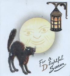 FOR A D--LIGHTFUL SEASON black cat bristles under smiling moon, lantern above right