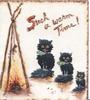 SUCH A WARM TIME! 3 black cats with blue spotted collars watch mouse cooking on camp-fire