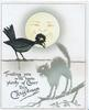 TRUSTING YOU WILL HAVE PLENTY OF CHEER THIS CHRISTMAS under smiling moon black crow looks down at bristled black cat