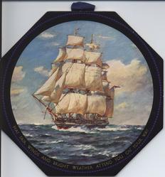 MAY FAIR WINDS AND BRIGHT WEATHER ATTEND YOU ON YOUR WAY sailing ship under full sail