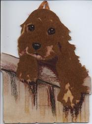 brown spaniel type dog with two paws over fence