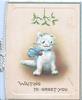 WAITING TO GREET YOU in gilt below white kitten wearing white bow sitting under mistletoe