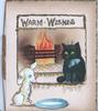 WARM WISHES above black kitten wearing spotted blue bow sitting by fire watching white puppy with milk