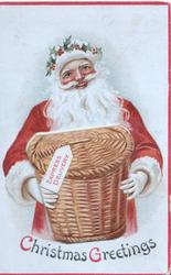 CHRISTMAS GREETINGS red coated Santa holding basket of toys EXPRESS DELIVERY, basket opens