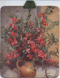 BLOSSOM TIME red flowers on stems in brown jug on table