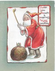 I WISH YOU HEALTH & HAPPINESS 'FORE EVERYTHING(illuminated), Santa wields golf-club at Xmas pudding
