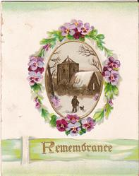 REMEMBRANCE in gilt below winter inset surrounded by flowers