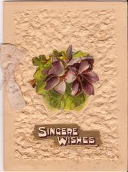 SINCERE WISHES in gilt plaque below violets